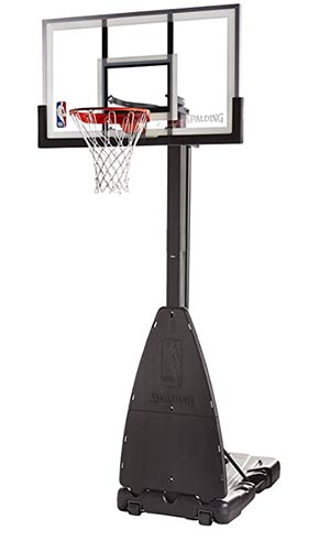 spalding 54 inch glass portable basketball system