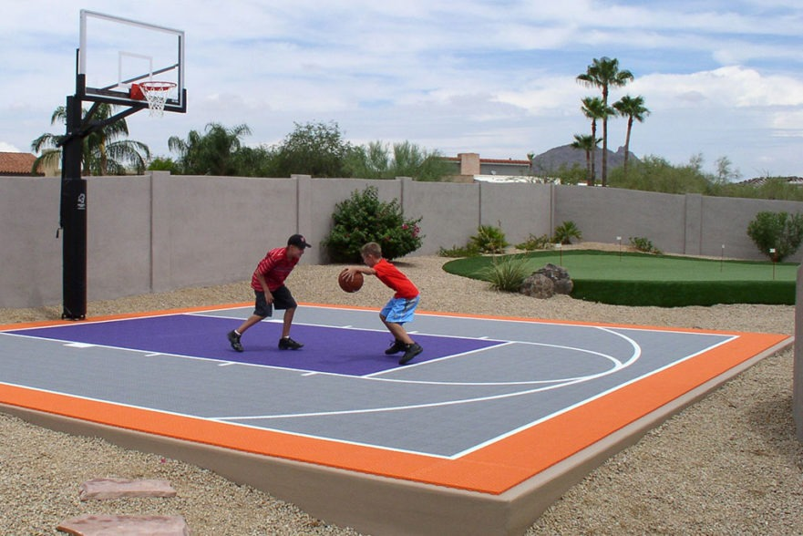 outdoor basketball court installation