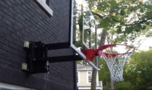 using garage mounted basketball hoop