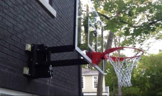 using garage mounted basketball hoop