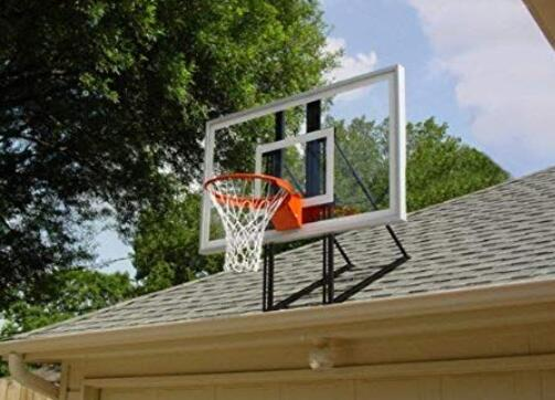 install basketball hoop to garage roof