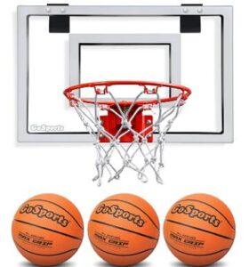 basketball hoop above garage door