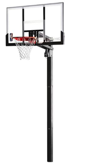 spalding 54 glass in ground basketball hoop