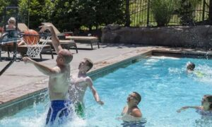 swimming pool basketball and volleyball combo set