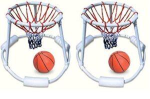 two floating basketball hoops