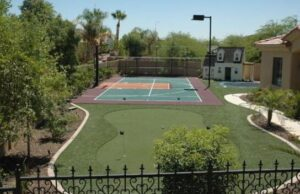 golf with backyard court